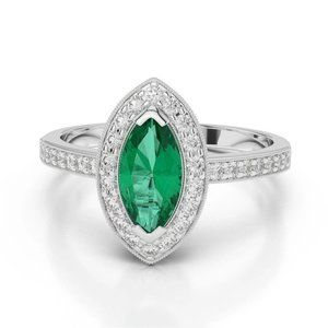 3 Ct Marquise Shaped Green Emerald And Diamond Wed
